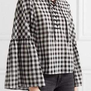 McQ by Alexander McQueen Lace Up Gingham Top